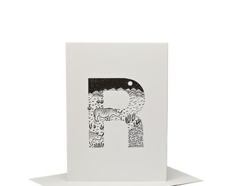 R for Rhinoceros - Letterpress Print