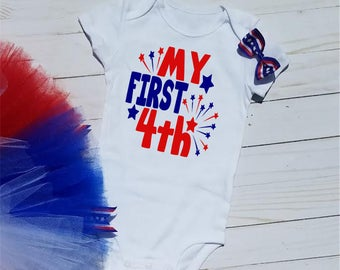 Patriotic Onesie, 4th of July onesie, July 4th onesie, First 4th of July, red white blue tutu, patriotic tutu, Independence Day, Baby Outfit