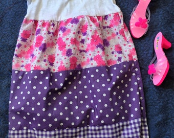 Girls tiered ruffle dress. Pink, purple with polka dots. Girls cotton summer dress. Floral.Vintage.Tee shirt and cotton dress. Tiered skirt.