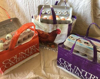Egg Carton Tote, Recycled Feed Bag Tote, Market Bag, Reusable Shopping Tote, Up-cycled Feed Bag, Chicken Feed Market Bag