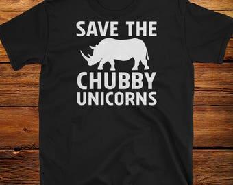 Save The Chubby Unicorns Funny Tee Shirt College Humor LOOK