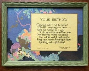 Framed birthday Print/ Card from 1927