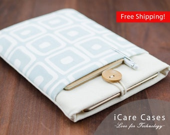 11 inch MacBook Air Sleeve Light Blue Geometric Square Pattern Sleeve with Pocket MacBook Air 11 inch Sleeve Case