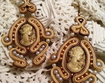 Flamenco earrings, soutache earrings, cameo earrings, party earrings, lady complement, Mother's Day