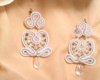 Bride Earrings. Godmother earrings. Party earrings. Bridesmaid earrings. Valentine's Day gift. Soutache earrings.