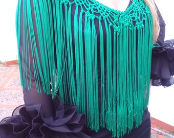 Fringes flamenco, fringes Andalucia green, flamenco costume complement, lady complement, flamenco fashion, mother's Day
