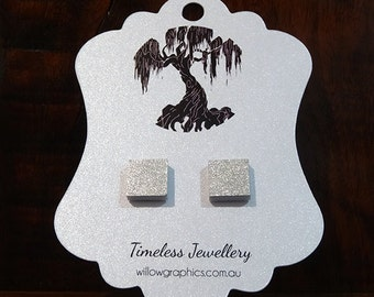 Silver Square Earring Studs