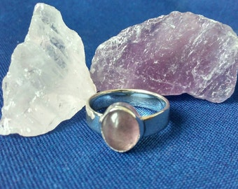 Handmade Sterling Silver Ring with Pale Purple Fluorite