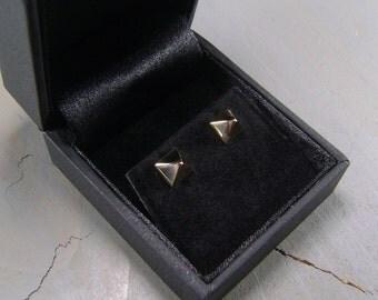 Stud Earrings, Pyramid Earrings, Pyramid Studs, Mens Earrings, Gold Earrings, Yellow Gold Earrings, 18K, Handmade