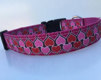 Pink Love Hearts Dog Collar