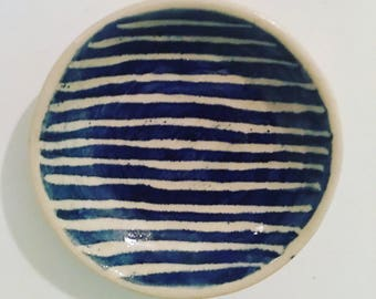 Painted Trinket Dish Blue