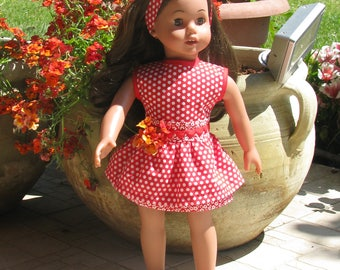 """Red and white polka dot dress with flounces and belt hearts and hair band//for American Girl Doll 18 """"//outfits//ag dolls//agdoll//spring"""
