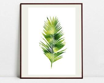 Tropical Leaf Art Botanical Print , Leaf Palm Watercolor Painting, Leaf Green Illustration, Digital Download Art Print