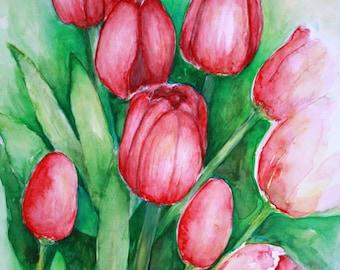 8 x 10 Original Watercolor, Red Tulips