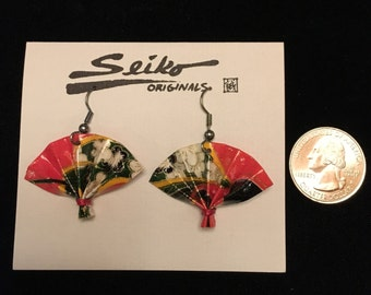 Hand crafted small fan dangle earrings Japanese paper Washi