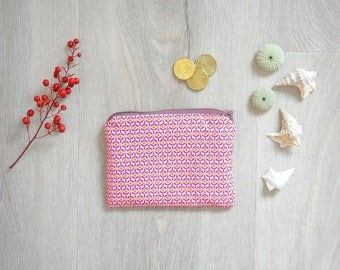 Wallet in pink, orange fabric