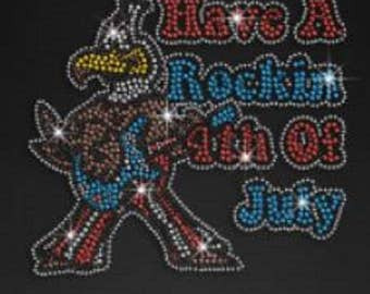 Rhinestone Have a Rocking 4th of July Eagle Ladies T Shirt or DIY Iron On Transfer         ZWJ2