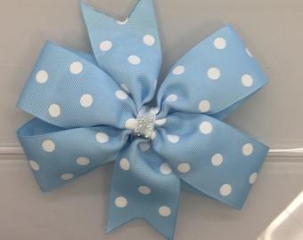 Blue polka dot hair bow, basic blue hair bow, light blue polka dot hair bow, girls hair bow,