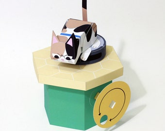 Moving Paper Craft — Røømba Cat, Printable PDF, Instant download, DIY, automata