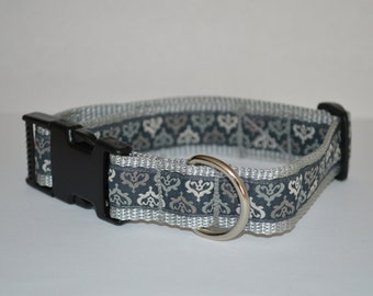 "Collar design ""Ornament"" grey hand-crafted adjustable 25 mm produced,"