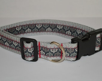 "Dog collar ' elegantly in red ""handcrafted * new * 30 mm grey"