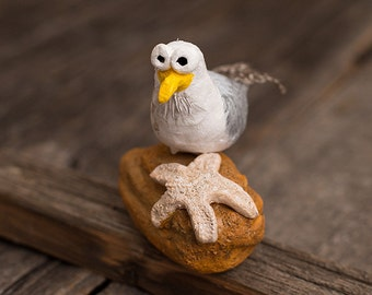 Silly Seagull Seamore Fisher, clay sculpture