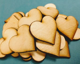 50 Wooden Hearts