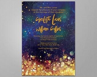 Star Printable Invitation, Printable Wedding Invitation, Printable Invitation, Wedding Printable, Invite, Star, Celestial, Printable