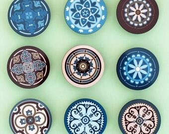 Set Of 9 Knobs /Cabinet Knobs/Drawer Pulls/Handle Knobs/Mandala/
