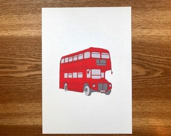 Digital Print, London Bus, Art Prints, Gift Idea