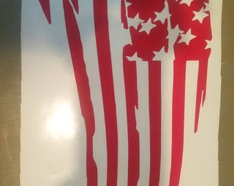 Tattered American flag decal