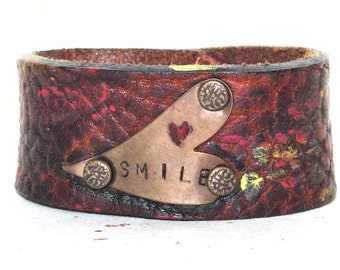 Smile Pebbled Leather Cuff Bracelet