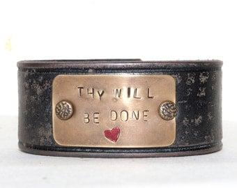 Inspirational leather cuff bracelet
