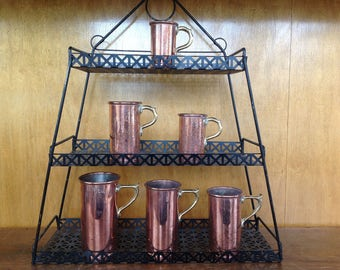Set of 6 Jenzo Copper and Brass measuring Cups