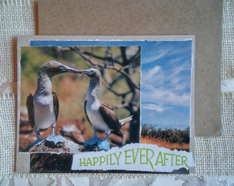 """Blank note card. Handmade, hand-collaged, unique, upcycled from repurposed materials. """"Happily Ever After"""" Love Birds Love note."""