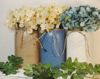 Farmhouse Jar Set, Mason jars,Home Decor,Farmhouse jars, Shabby Chic Decor, Baby Shower, Bridal shower, Housewarming gift,Painted bottle set