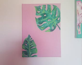 Palm tropical leaves acrylic painting original canvas