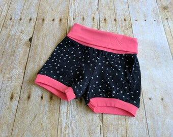 Black toddler knit shorts.  18 months.  Stars.  Pink cuffs.  Foldover waistband.  Comfy and fun.  Birthday or shower gift.  Black white.