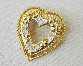 Heart Rhinestone Brooch, Vintage Brooch, Gold Tone, Small Pin, Wedding Bridal Jewelry, Valentines Day, Anniversary, Romantic, Gift For Her