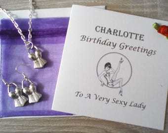 50 Shades of Grey Personalised Card and Corset Jewellery Set