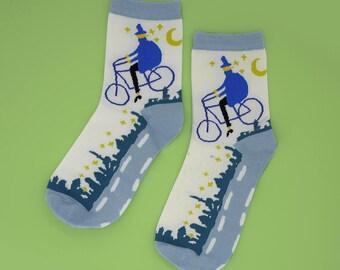 FREE SHIPPING Bicycle socks women's socks, blue bike riding funny one size lady socks