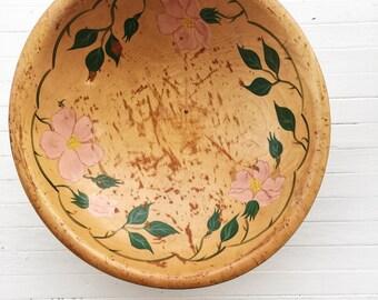 Old wood bowl, hand painted bowl, vintage bowl, boho bowl, boho decor, cintage decor, gift for hipster