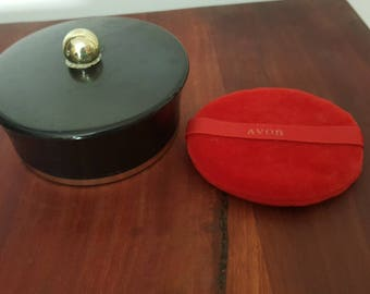 """Avon """"Occur"""" beauty dust container, cosmetic powder box or keepsake trinket/ jewelry holder"""