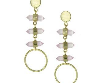 Earrings circles quartz rose