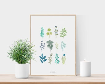 Watercolor leaves print - Botanical print - Leaves printable - Greenery print - Watercolor leaves - Botanical art - Leaf art - Wall decor
