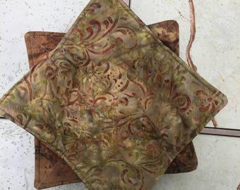 Gold Batik Bowl Cozies set of two