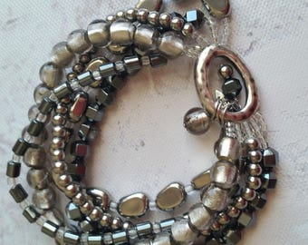 SILPADA Hematite beaded Stretch Bracelet