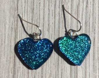Dichroic Fused Glass Earrings - Aqua Blue Heart Earrings with Solid Sterling Ear Wires