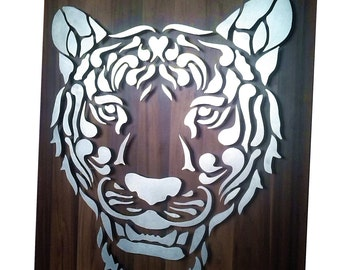 Blechdeko Metalldeko Leopard on wood 55 x 65cm CNC machined! One of a kind!