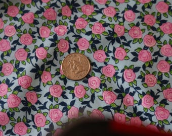 24 Aunt Lindy's Paper Doll Fabric in Blue with Pink Flowers